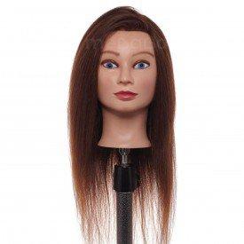cabeca de boneca para treino cabelo 70 humano sk03 castanho